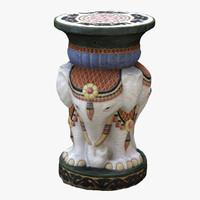 3d vase elephant scan model