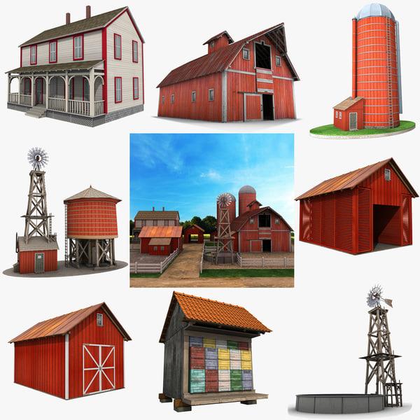 farm red barn 3d model