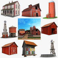farm red barn 3d model