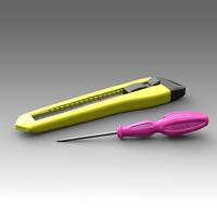 stationery knife screwdriver 3d fbx