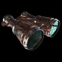 binoculars gold 3d model