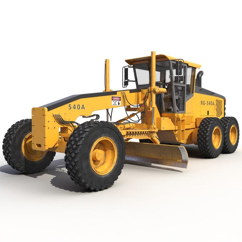 3d model road grader rigged