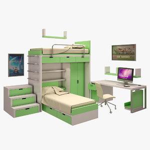 3d teen s room model