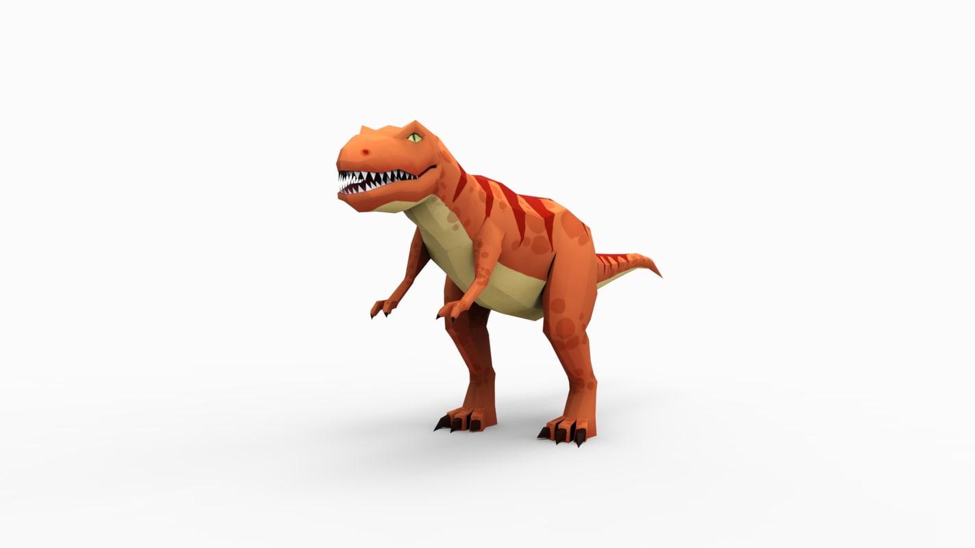 low-poly t-rex 3d model