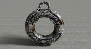 3d rusty vintage metal pendant model