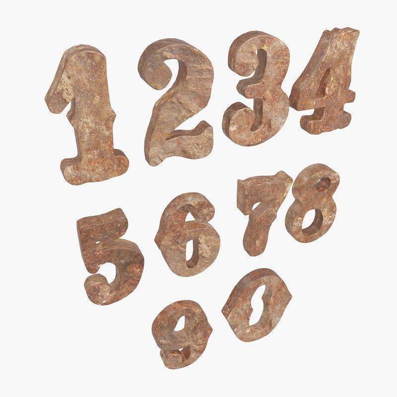 numbers 3d obj