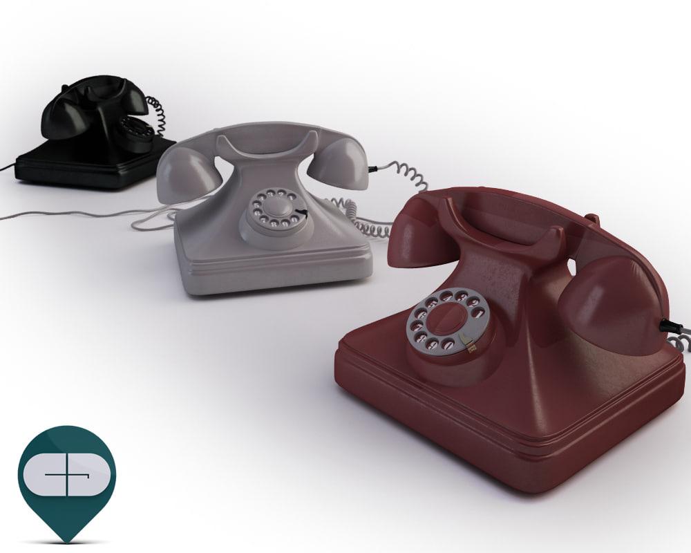 old telephones 3d c4d