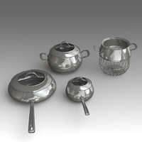 kitchen pot set 3d x