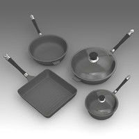 3d kitchen pan set