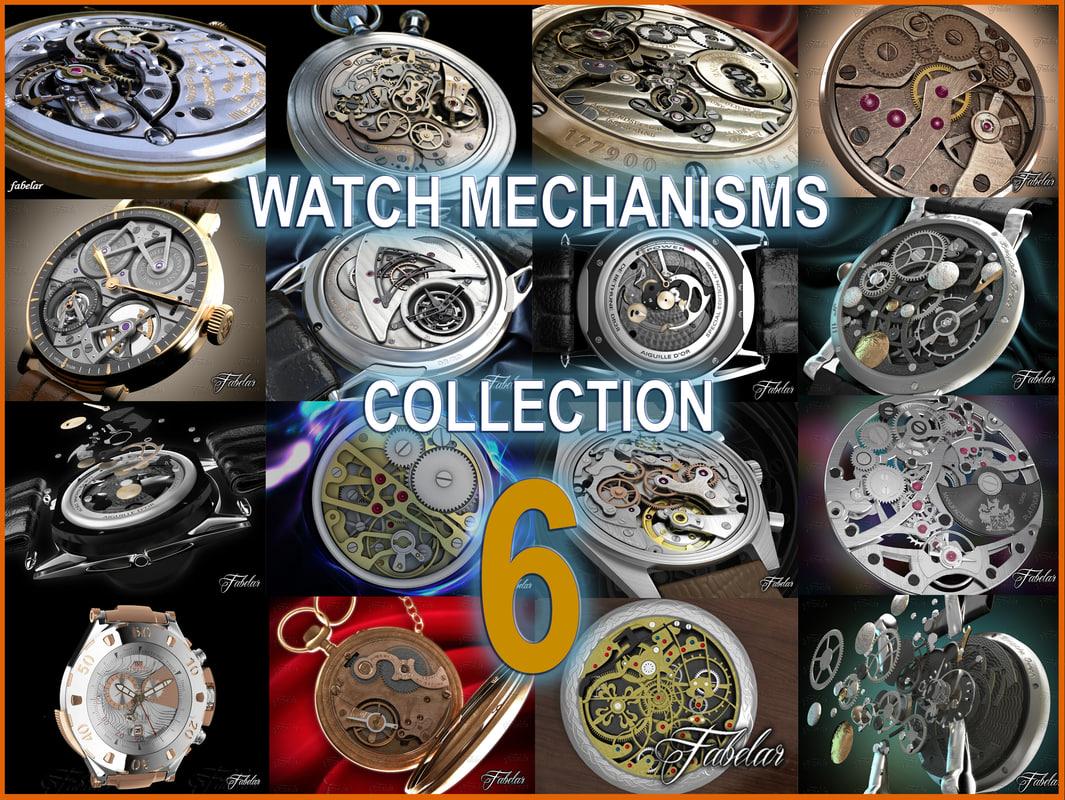 3d watch mechanisms model