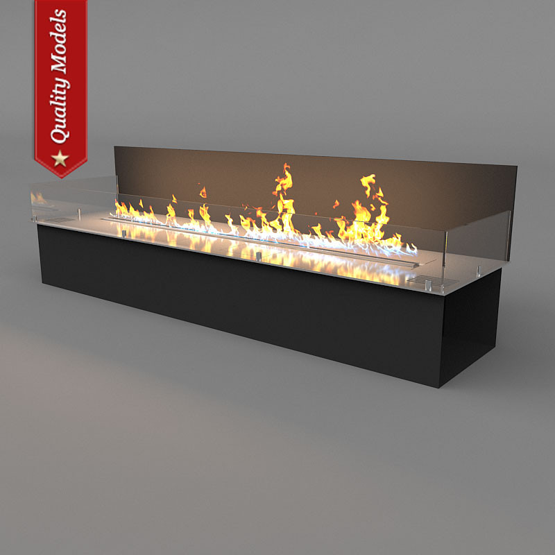 3ds realistic fireplace heating