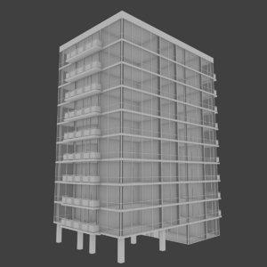 apartment tower building interior 3d model