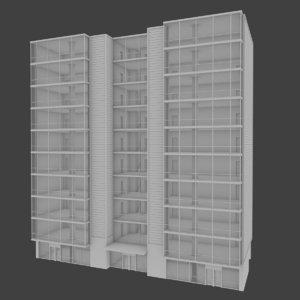 apartment building interior exterior 3d model