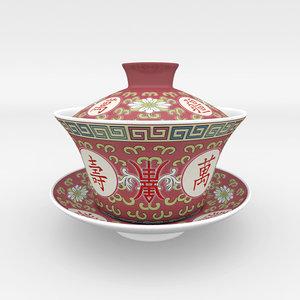 3d model gaiwan chinese tea gongfu