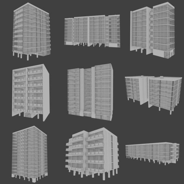 modernist apartment buildings interiors 3d obj