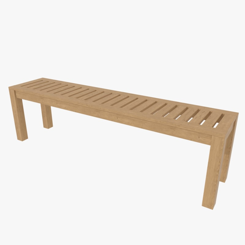 wood bench 3ds