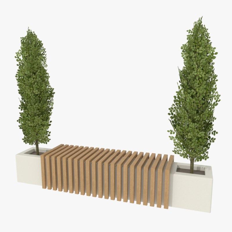 3d 3ds modern park bench