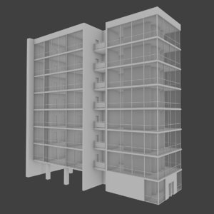 3d apartment building interior exterior model