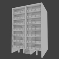 apartment building interior exterior 3d obj