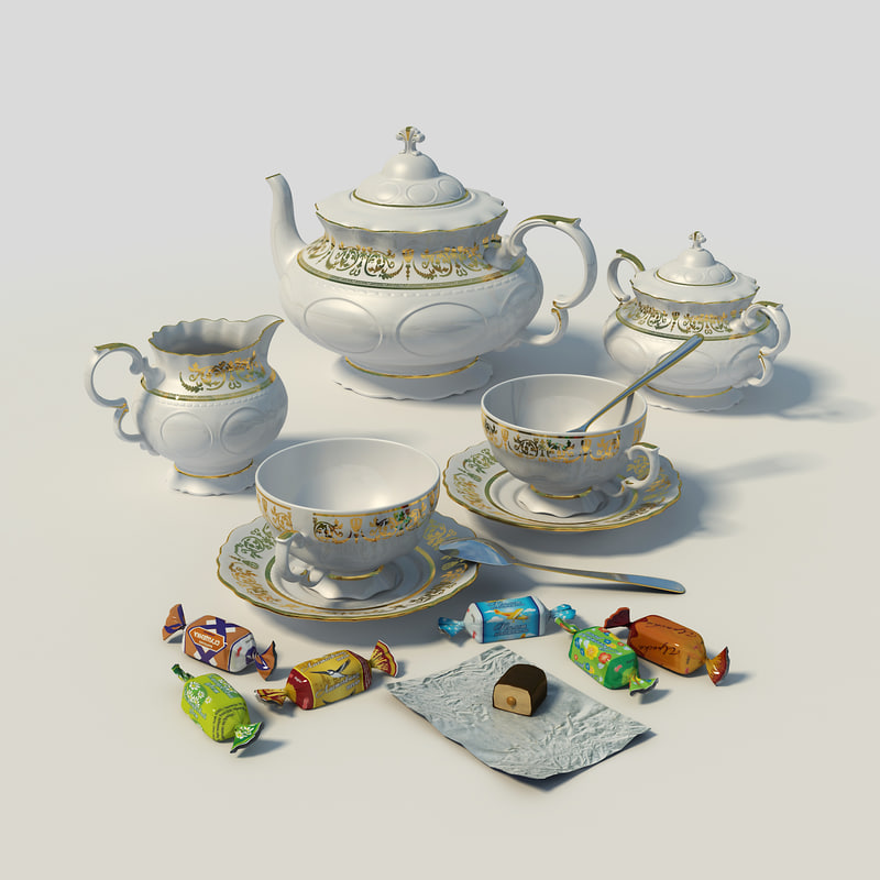 tea set kettle leander 3d model