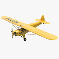Light Aircraft Piper J-3 Rigged Yellow 2
