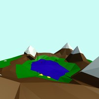 Cartoon low poly landscape