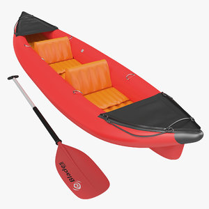 kayak 3 red paddle 3d model