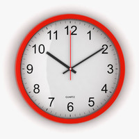 3d red office clock model