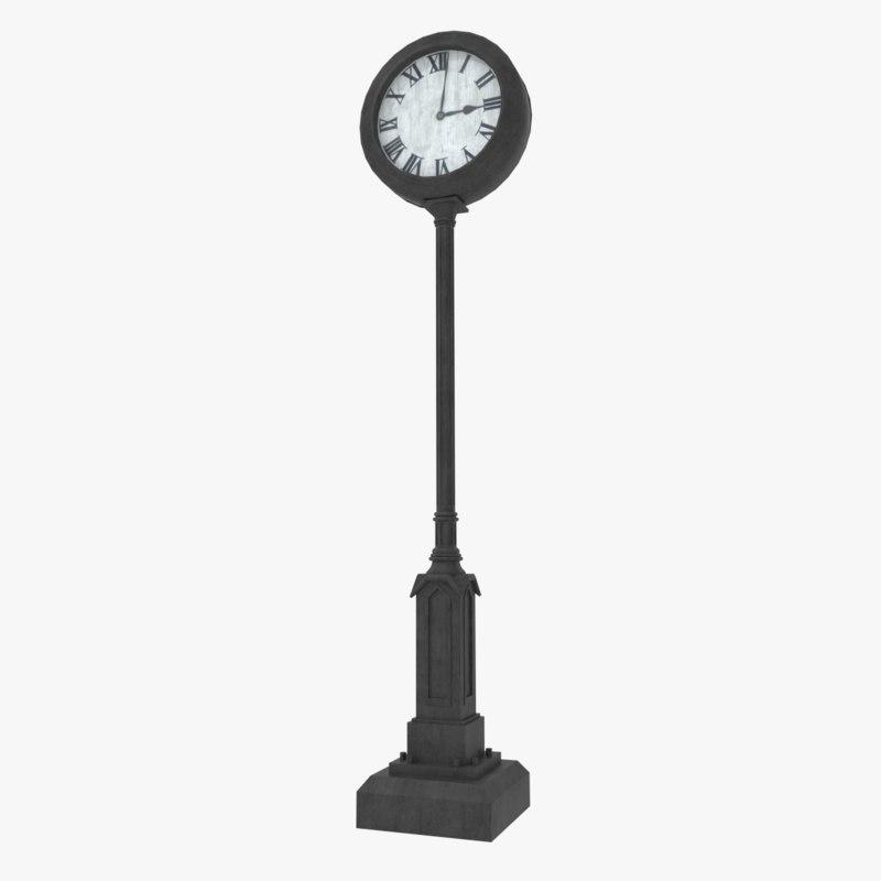 3d model classical street clock