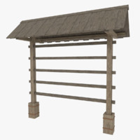 hay drying rack 3d model