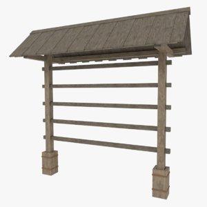 hay drying rack 3d model