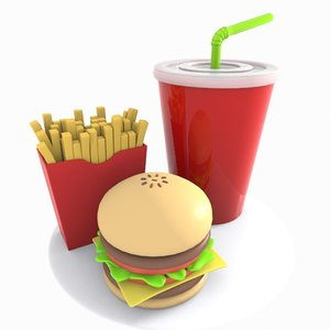 cartoon hamburger burger 3d model