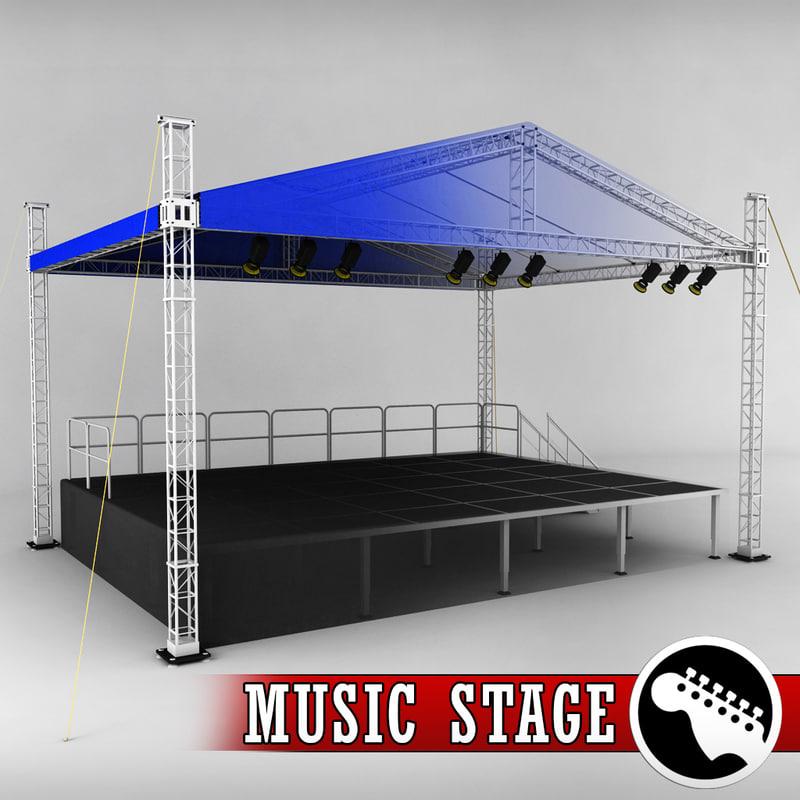 music stage platform scaffolding 3d model