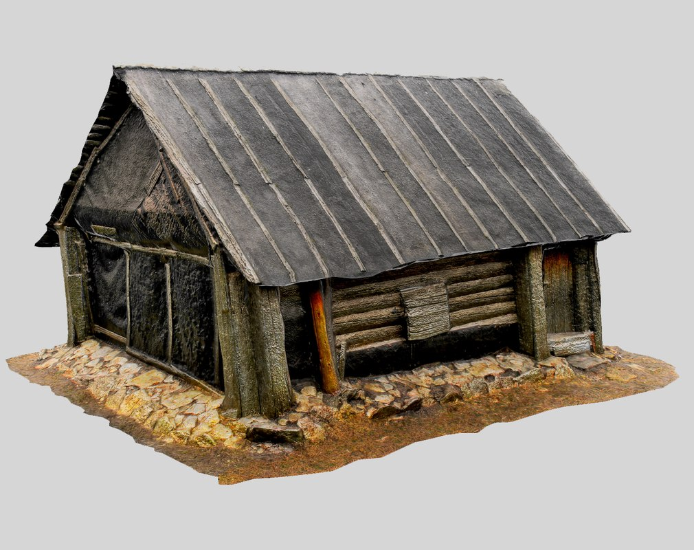 wooden cabin obj