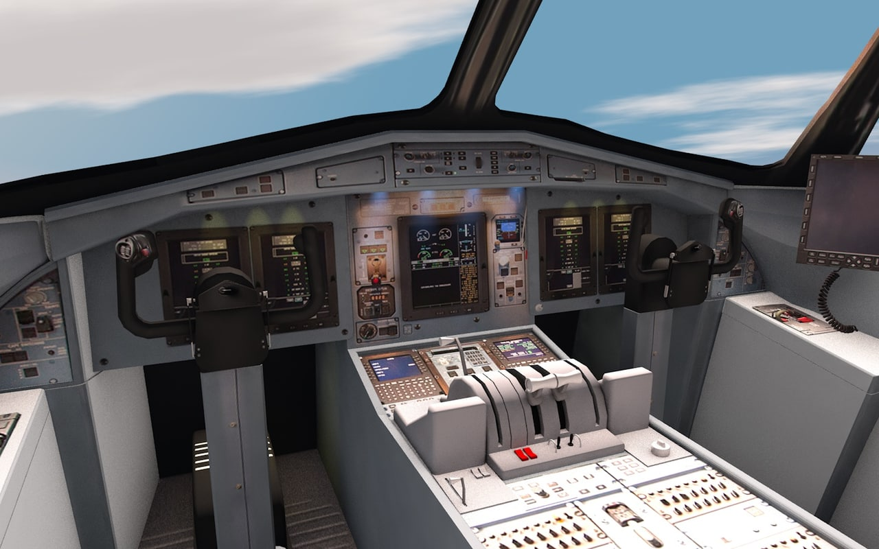 plane interior cockpit 3d model