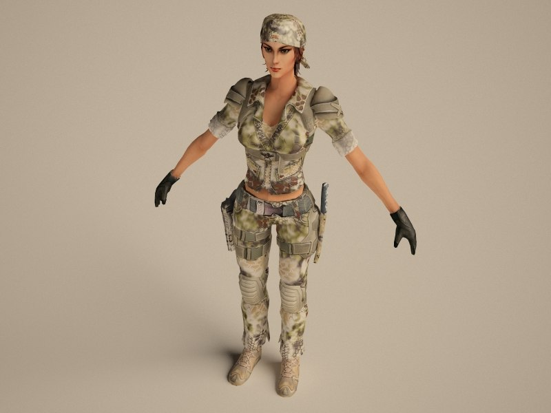 girl soldier character 3d model