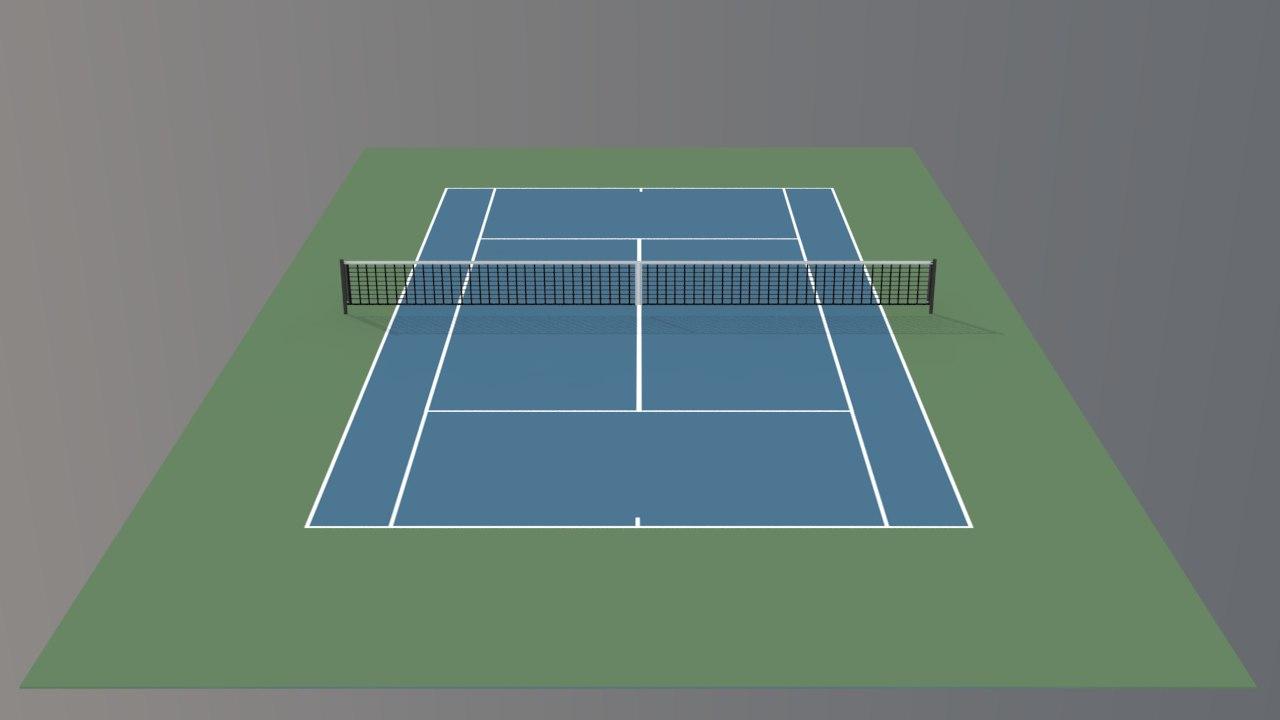 tennis hard court v2 3d model