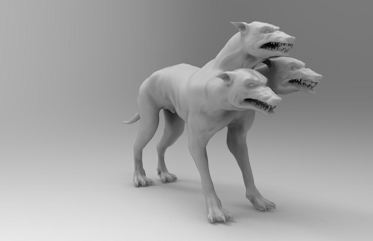 3 head dog obj