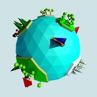 Cartoon low poly planet islands