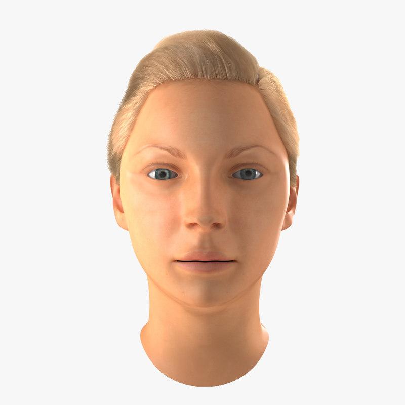 3d female caucasian head