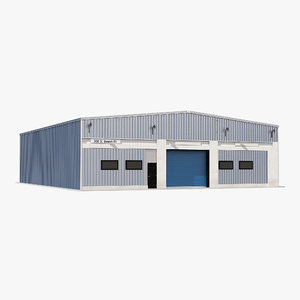 warehouse building blue interior 3d model