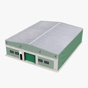 3d model warehouse building green