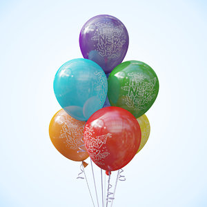 3d model seven balloons helium