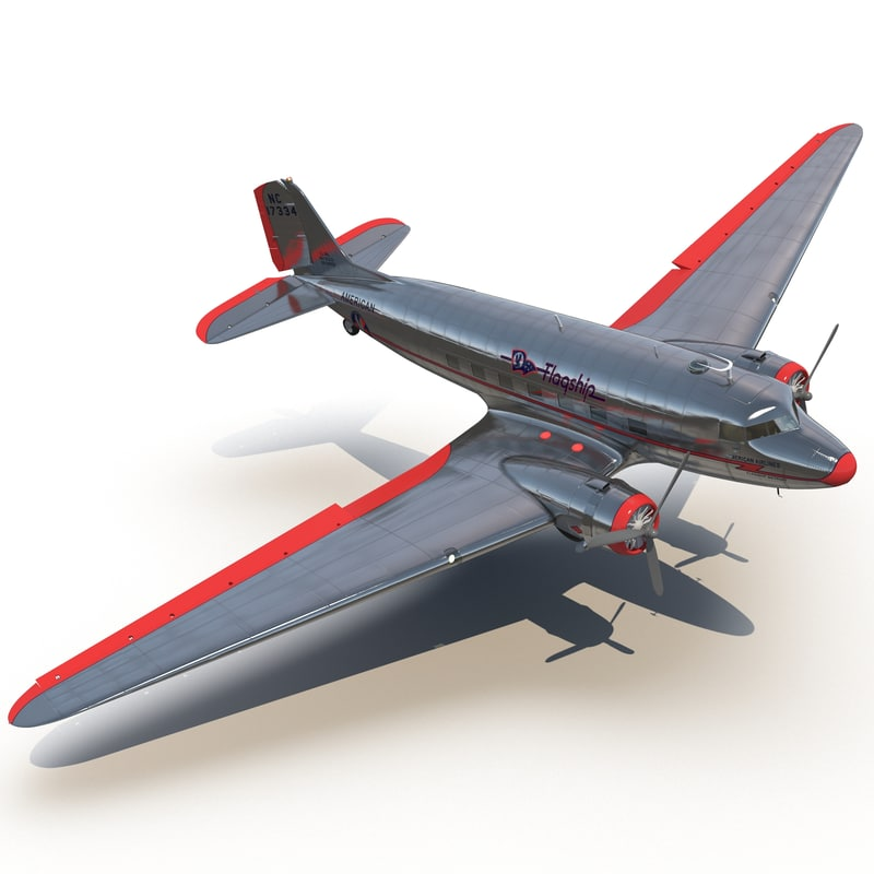 douglas dc-3 american airlines 3d max