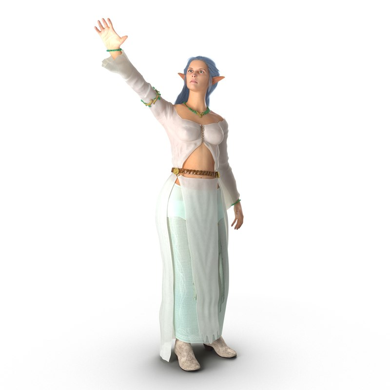 3ds max female elf rigged