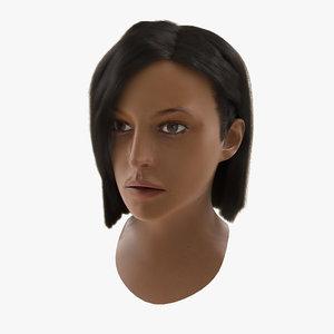 mediterranean woman head hair 3d max