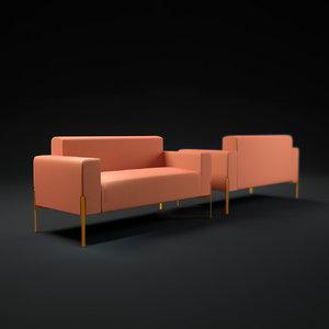 inlay-sofa 3d model