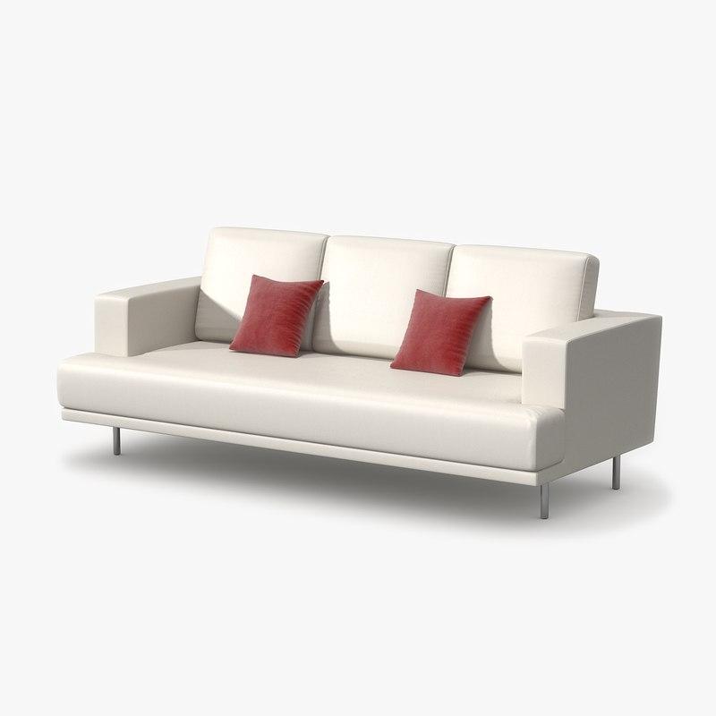 triple sofa leather 3d model