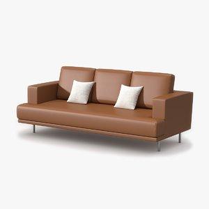 max triple sofa tan leather