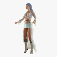 3d model female elf rigged 2